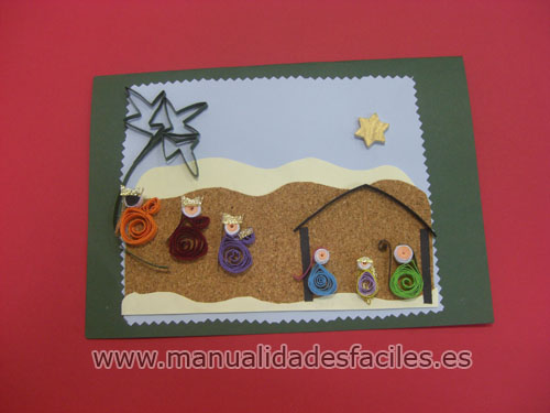 Tarjeta belen de navidad manualidades faciles - Manualidades postales navidad ...