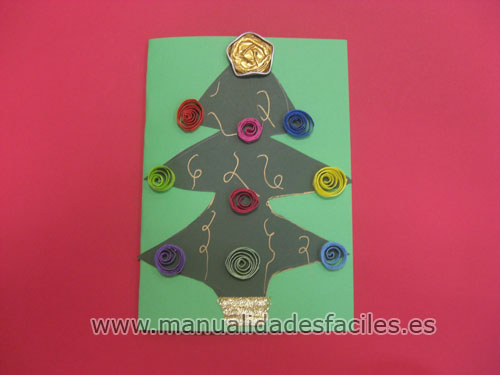 Tarjeta arbol de navidad manualidades faciles - Decorar postales de navidad ...
