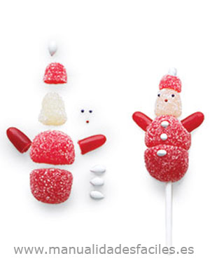 Bola de nieve hecha con gominolas manualidades faciles - Manualidades con gominolas ...