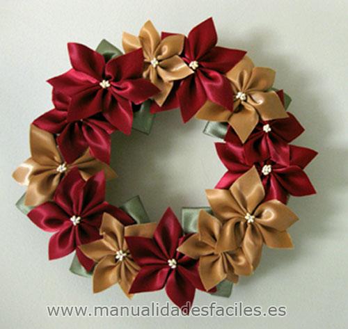 corona de flores de navidad manualidades faciles