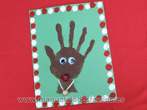 Tarjeta de navidad reno manualidades faciles - Tarjetas de navidad hechas por ninos ...