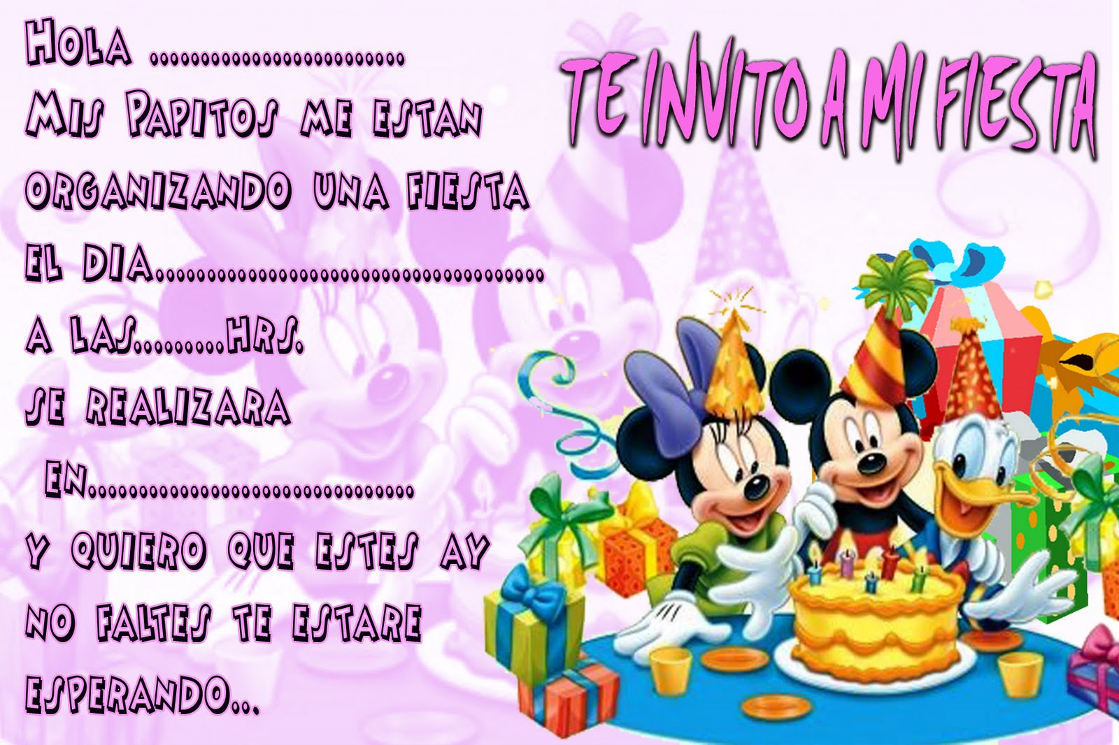 INVITACIONES DE CUMPLEAÑOS LISTAS PARA IMPRIMIR!!! | Manualidades ...