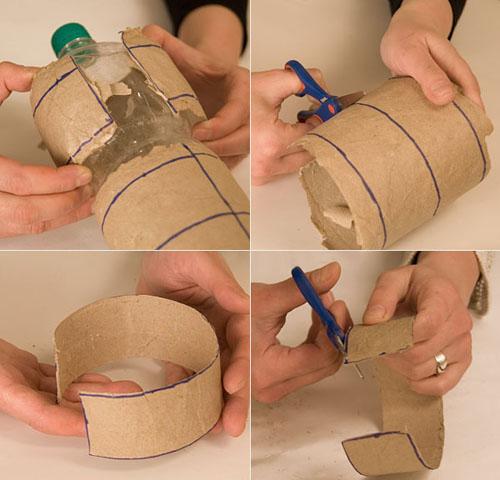 de plastico para hacer el molde, pegamos varias capas de papel de