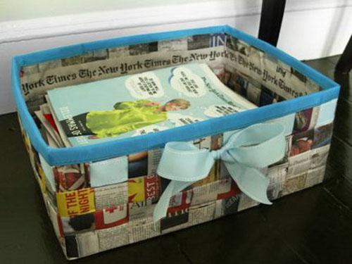 Revistero Hecho Con Papel Periodico Reciclado Manualidades Faciles