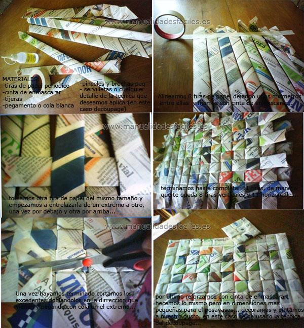 Manteles individuales hechos con papel periodico manualidades faciles - Hacer cestas con papel de periodico ...