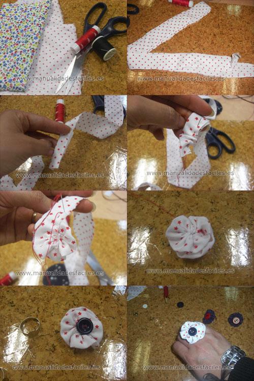 Anillo flor de tela manualidades faciles - Manualidades de tela faciles ...
