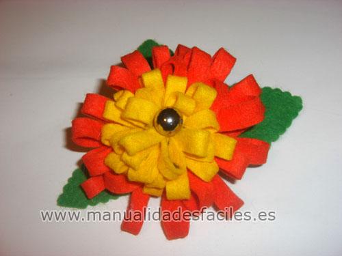 Flor broche de fieltro manualidades faciles - Broches para manualidades ...