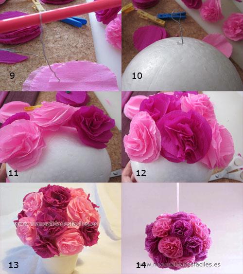 Flores decorativas de papel manualidades faciles - Como hacer manualidades faciles ...