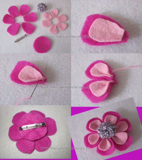 Broche flor rosa de fieltro manualidades faciles for Manualidades faciles decoracion