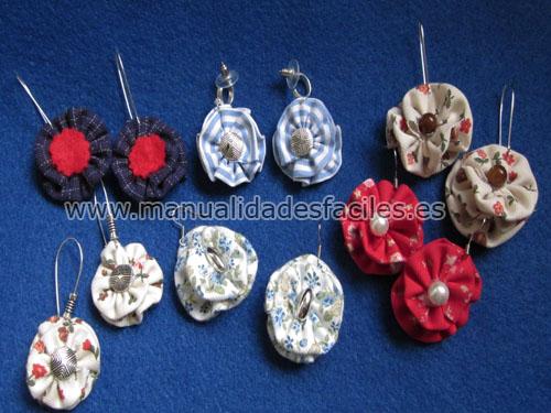Pendientes flor de tela manualidades faciles - Manualidades de tela faciles ...