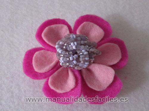 Broche Flor Rosa De Fieltro Manualidades Faciles