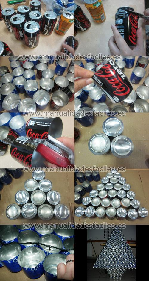 Arbol de navidad hecho con latas de aluminio - Arbol de navidad hecho de luces ...
