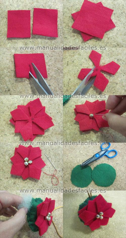 Flor de navidad en fieltro manualidades faciles for Como hacer adornos navidenos faciles