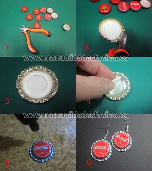 Pendientes de chapas manualidades faciles - Manualidades con chapas de refrescos ...