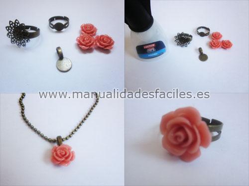Como hacer anillos y colgantes con rosas de resina manualidades faciles - Como hacer manualidades faciles ...