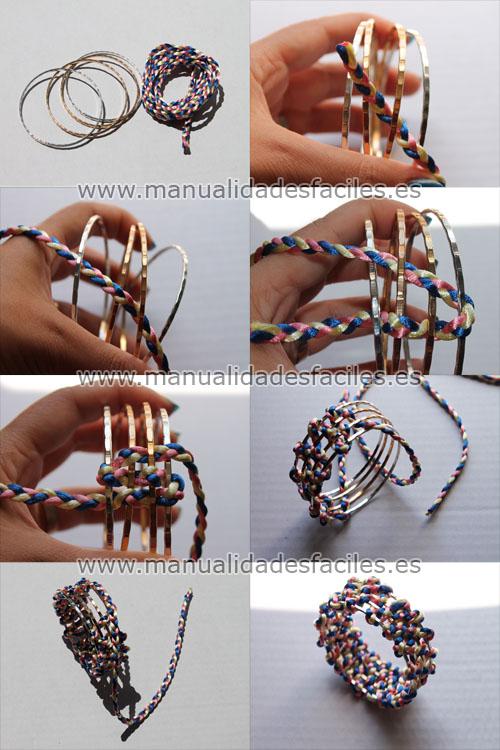 73e21f072164 Como hacer una pulsera con aros metalicos y cordón trenzado ...