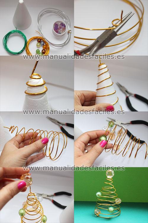 Arbol de navidad hecho con hilo m gico manualidades faciles - Arbol de navidad de alambre ...