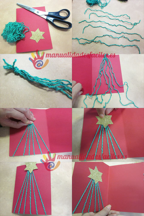 Postal navide a hecha con lana manualidades faciles for Manualidades para ninos con lana