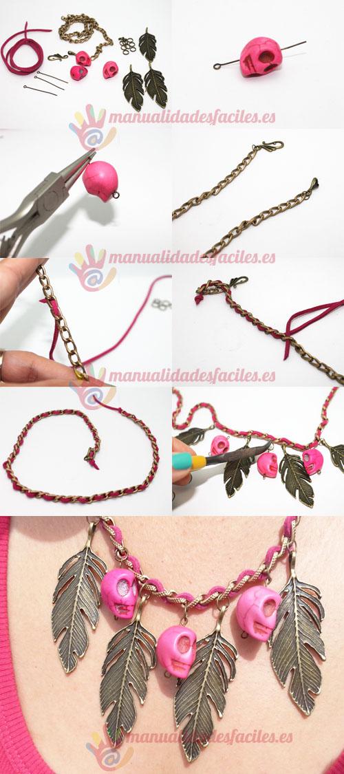 Collar con plumas de bronce y calaveras rosas - Manualidades con silicona ...