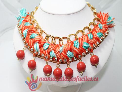 3d4e27070682 Como hacer un collar tejido con cadenas y abalorios – Manualidades ...