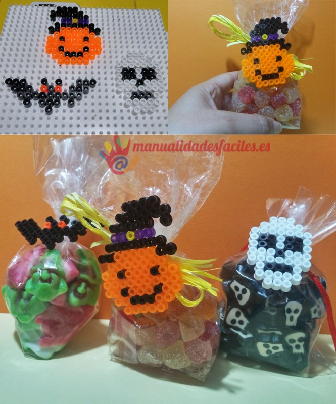 Como decorar golosineros para halloween con hama beads - Como decorar halloween ...